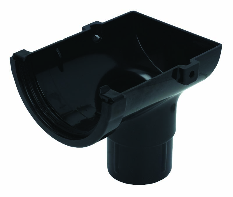 FLOPLAST MINIFLO 76MM GUTTER - ROM2 STOPEND OUTLET - BLACK