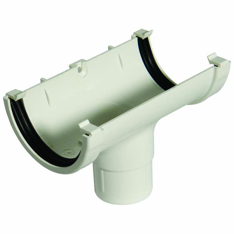 FLOPLAST MINIFLO 76MM GUTTER - ROM1 RUNNING OUTLET - WHITE