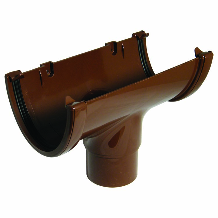 FLOPLAST HI-CAP GUTTER - ROH1 RUNNING OUTLET (68MM) - BROWN