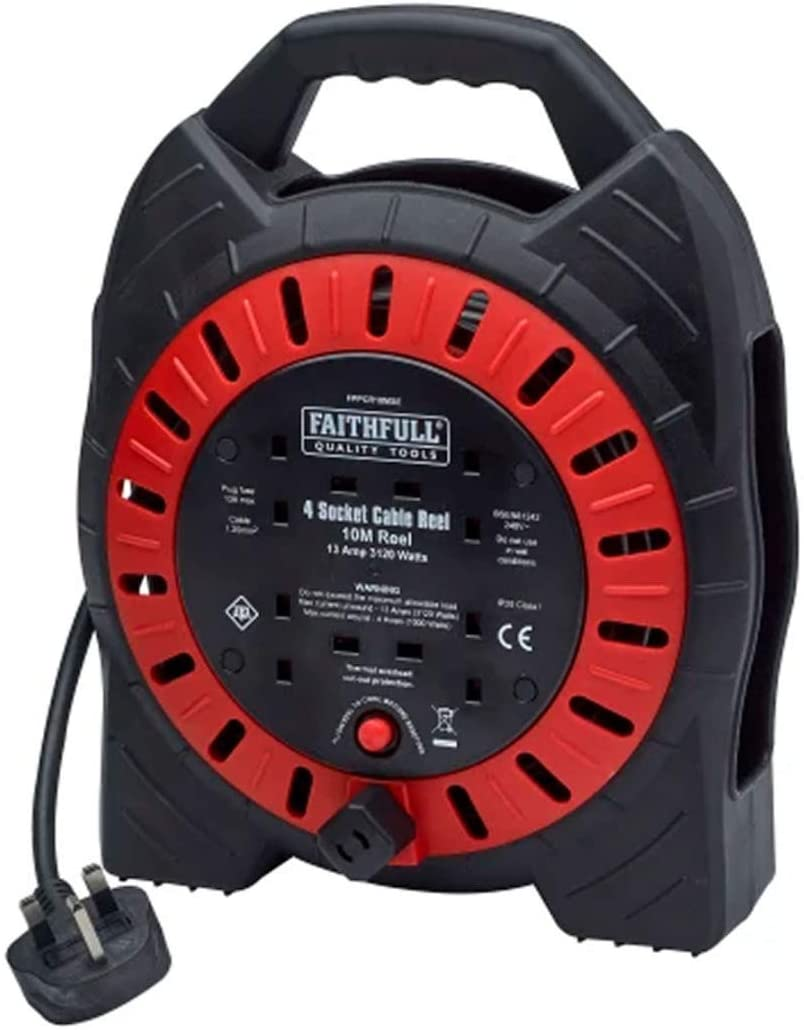FAITHFULL SEMI-ENCLOSED CABLE REEL 240V 13A 4-SOCKET - FPPCR10MSE