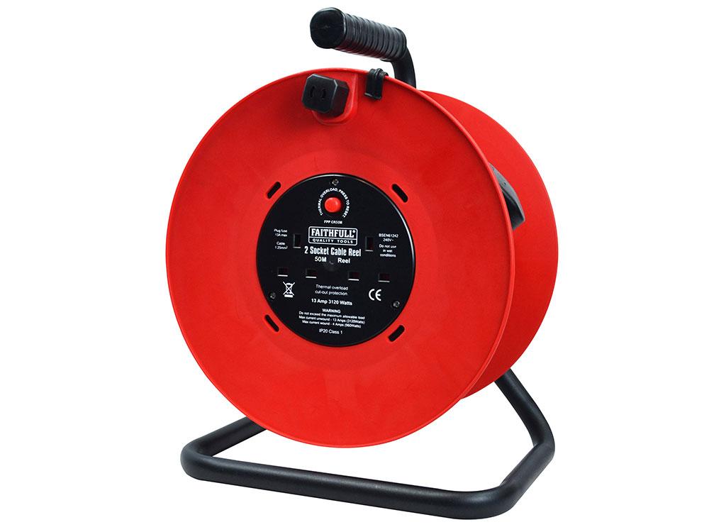 Faithfull 2 Socket Open Drum Cable Reel 240V 50 Metre - FPPCR50M