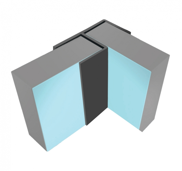 MULTIPANEL TYPE 100 FLUSH CORNER 2.45M - SATIN ANODISED
