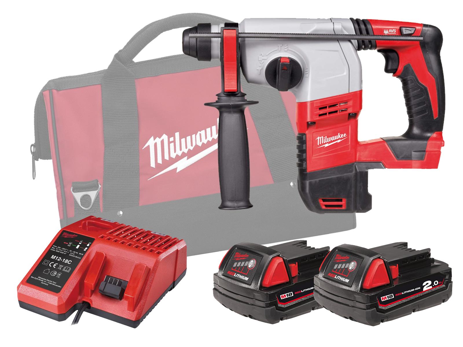 Milwaukee HD18HX 18V Brushed 3-Mode SDS Plus Hammer - 2.0Ah Pack