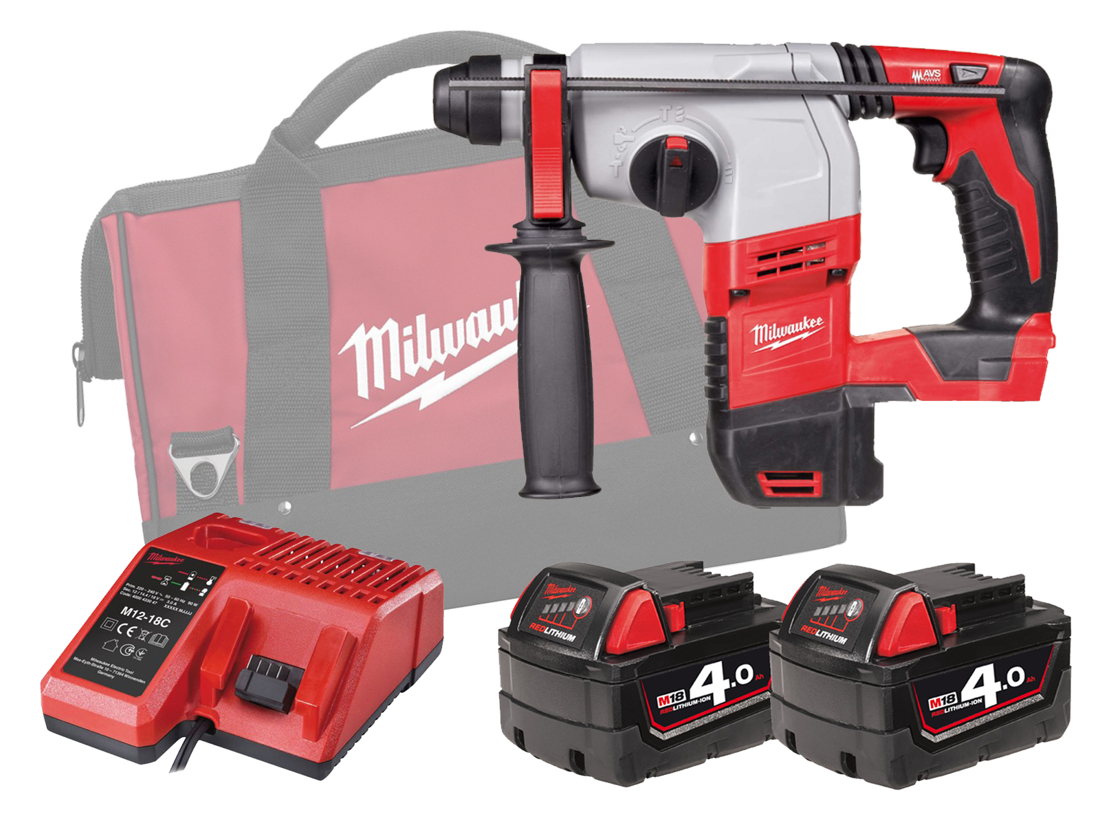Milwaukee HD18HX 18V Brushed 3-Mode SDS Plus Hammer - 4.0Ah Pack