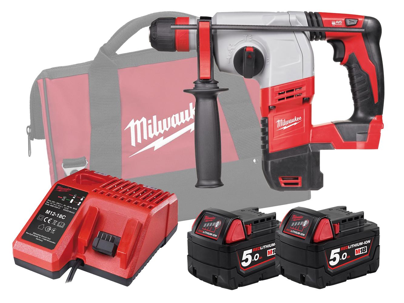 Milwaukee HD18HX 18V Brushed 3-Mode SDS Plus Hammer - 5.0Ah Pack
