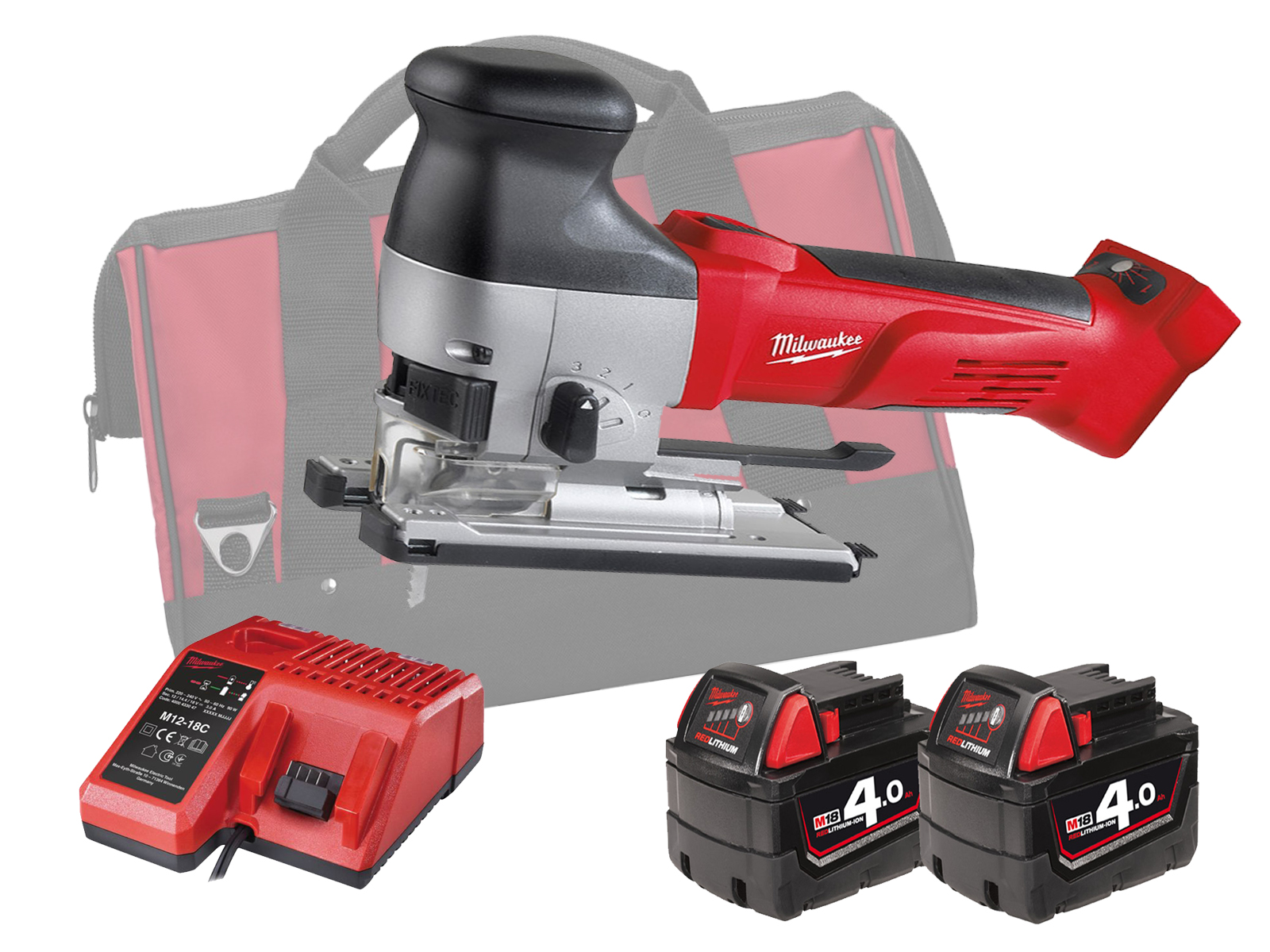 MILWAUKEE 18V HEAVY-DUTY BODY GRIP JIGSAW - HD18JSB - 4.0AH PACK