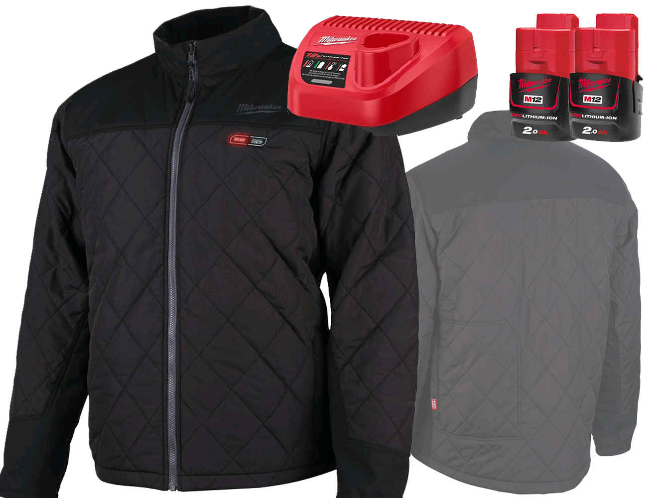 MILWAUKEE 12V BLACK HEATED PUFFER JACKET - GEN 1 - LARGE - 2.0AH PACK