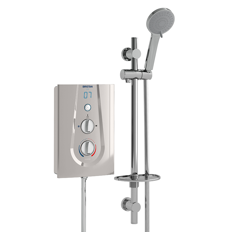 BRISTAN JOY THERMOSTATIC ELECTRIC SHOWER 9.5KW MATT SILVER - JOYT395 MS