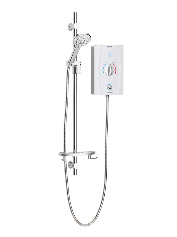 BRISTAN JOY CARE THERMOSTATIC ELECTRIC SHOWER 9.5KW WHITE (1MTR RISER RAIL) - JOYTHCK95 W
