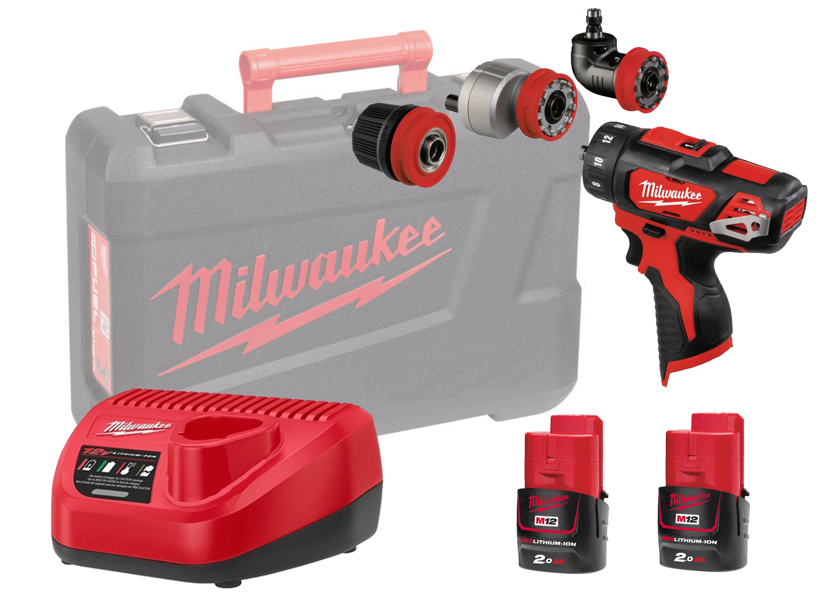 MILWAUKEE 12V DRILL / HEX / OFFSET / RIGHT ANGLE - M12BDDXKIT - 2.0AH PACK