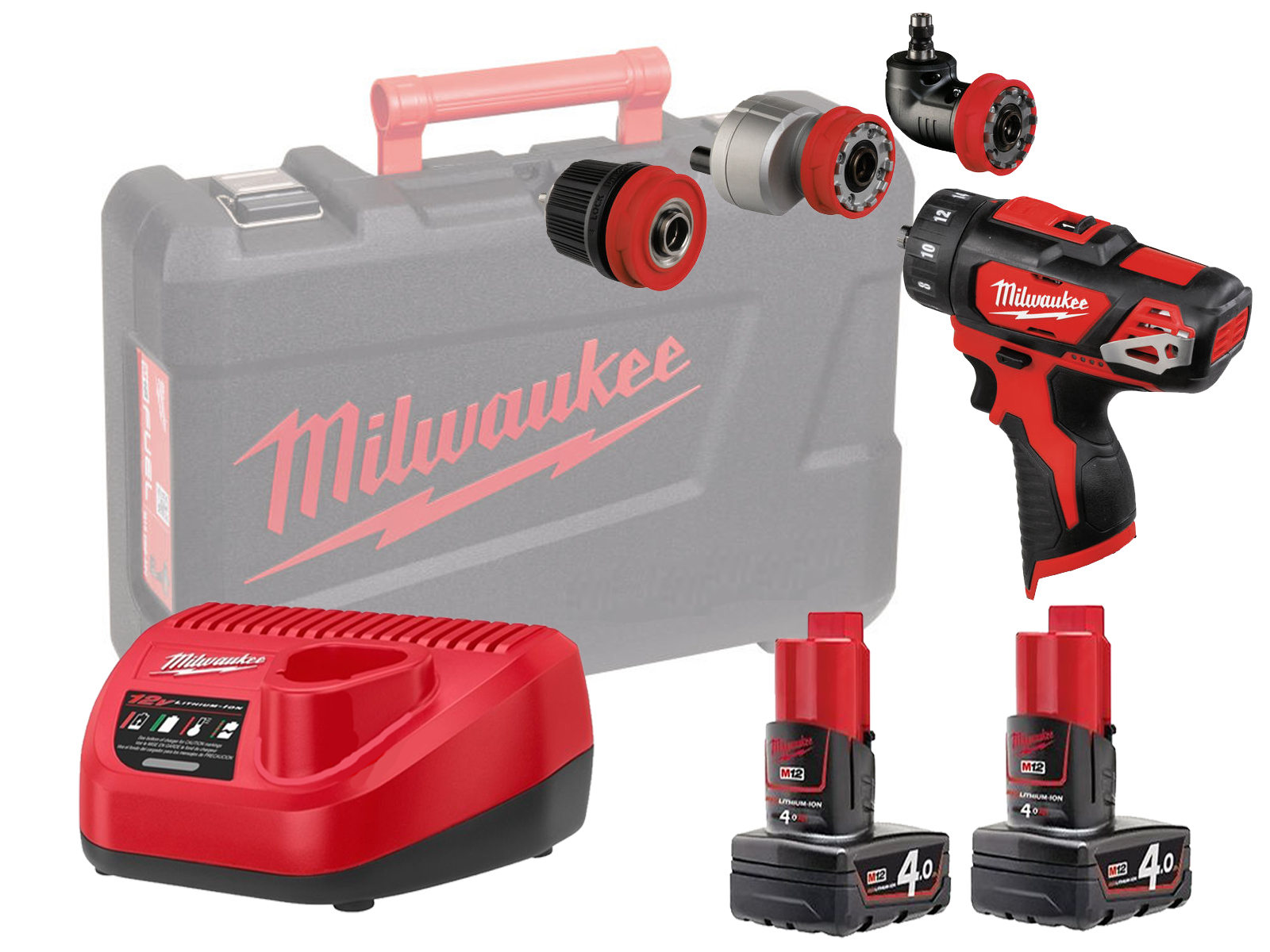 MILWAUKEE 12V DRILL / HEX / OFFSET / RIGHT ANGLE - M12BDDXKIT - 4.0AH PACK