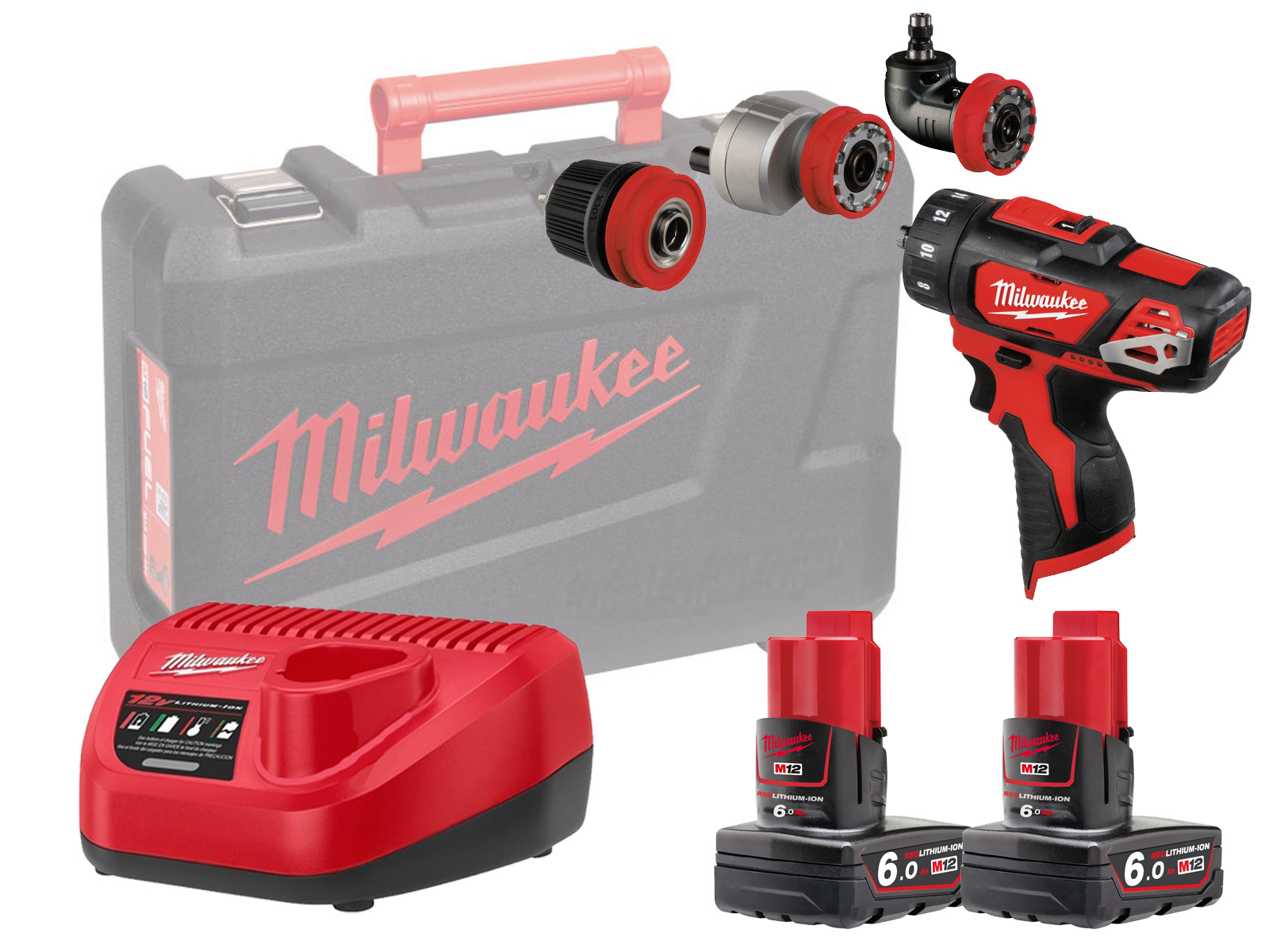 MILWAUKEE 12V DRILL / HEX / OFFSET / RIGHT ANGLE - M12BDDXKIT - 6.0AH PACK