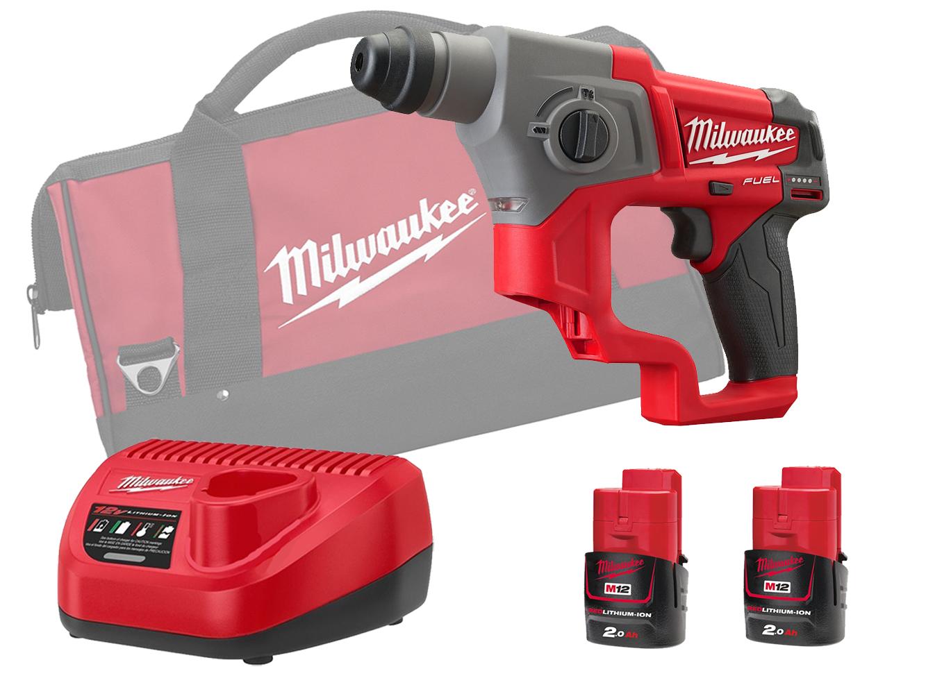 Milwaukee M12CH 12V Fuel SDS Plus 2 Mode Hammer - 2.0Ah Pack