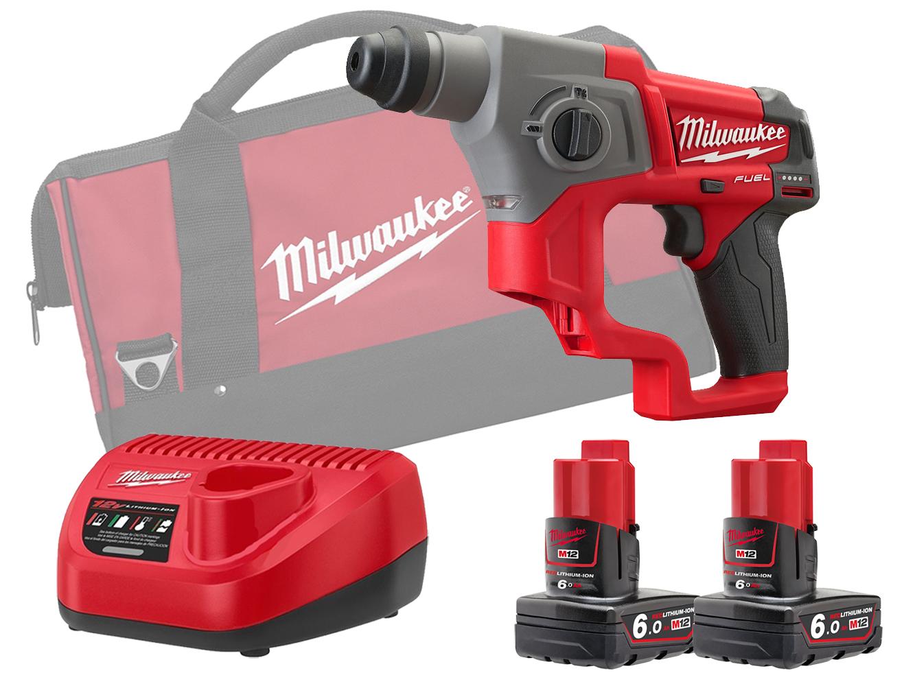 Milwaukee M12CH 12V Fuel SDS Plus 2 Mode Hammer - 6.0Ah Pack