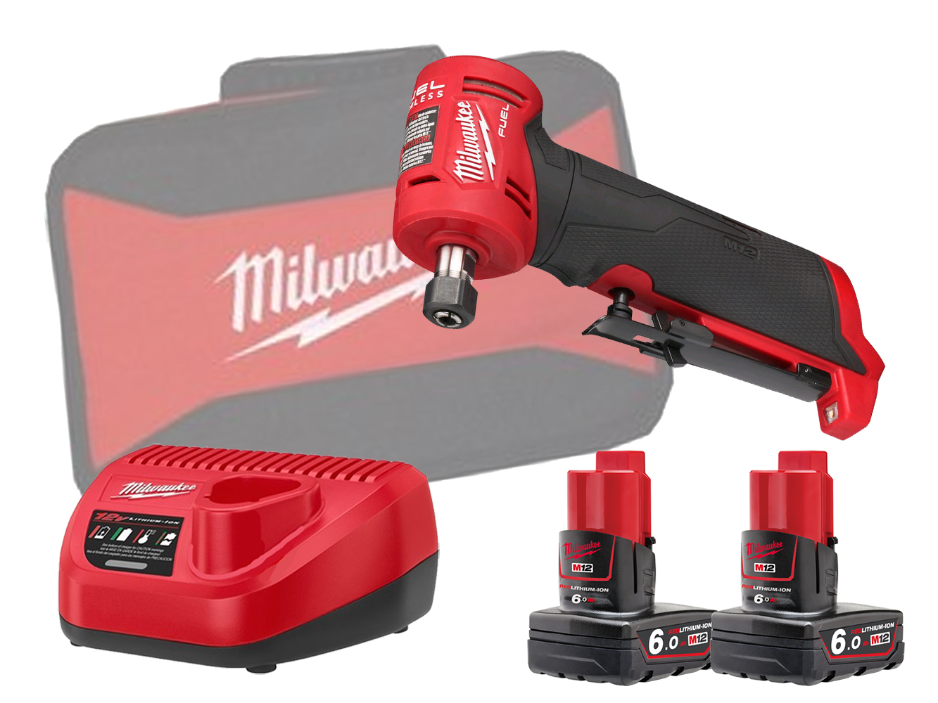 Milwaukee M12FDGA 12V Fuel Brushless Angled Die Grinder - 6.0Ah Pack