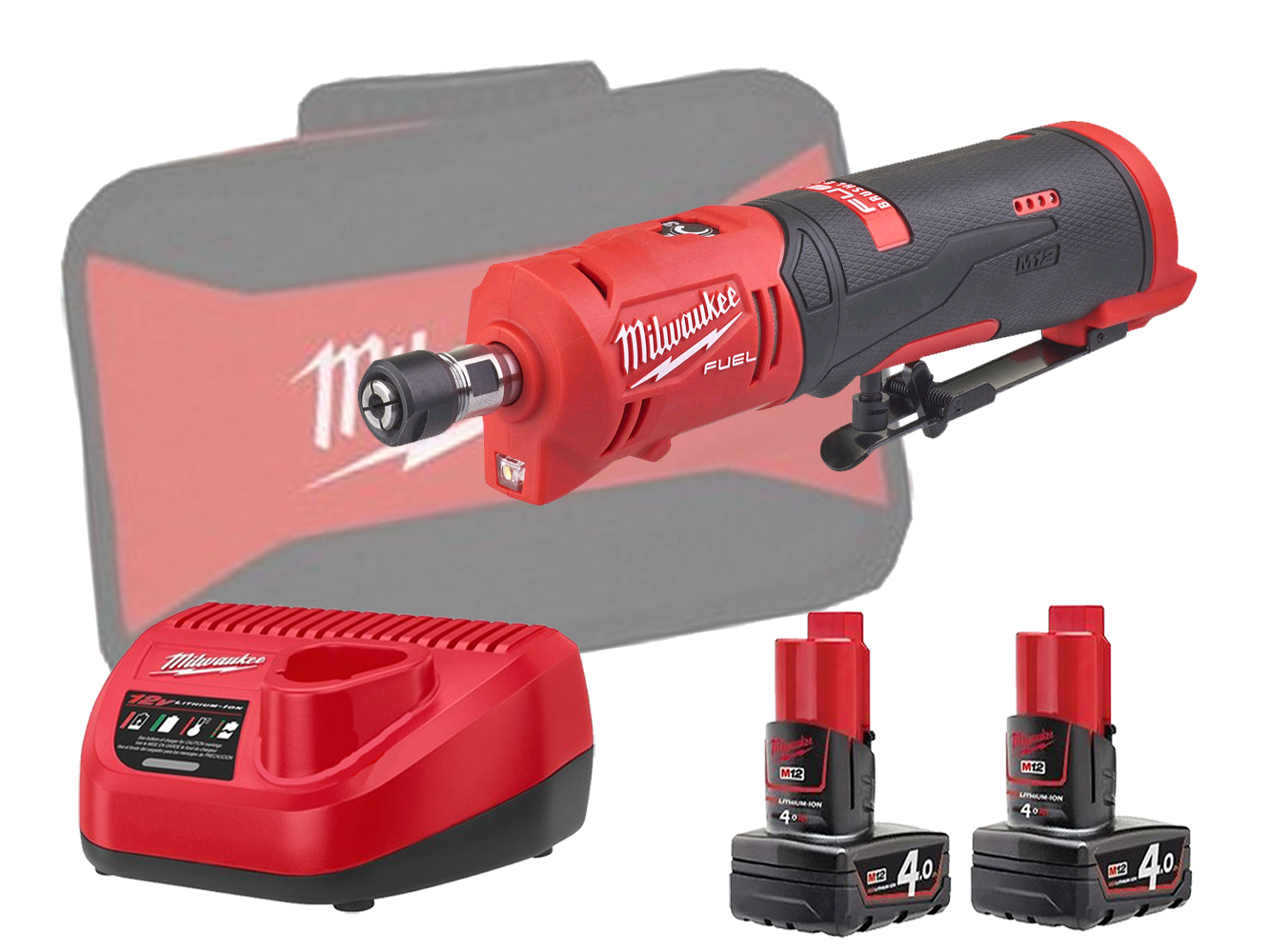 Milwaukee M12FDGS 12V Fuel Brushless Straight Die Grinder - 4.0Ah Pack