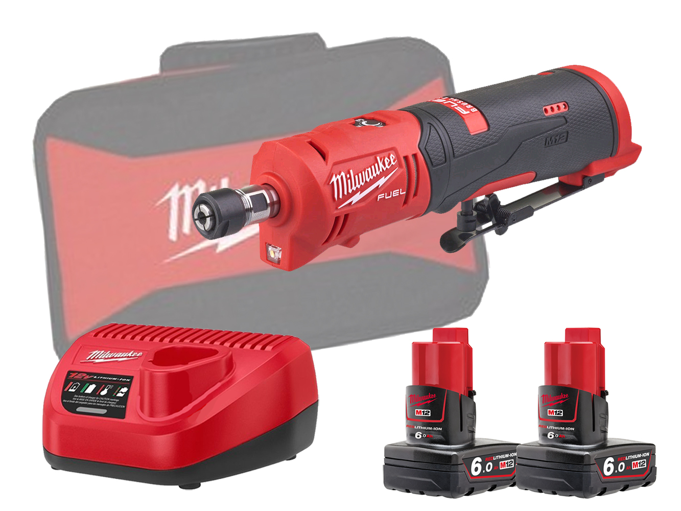 Milwaukee M12FDGS 12V Fuel Brushless Straight Die Grinder - 6.0Ah Pack