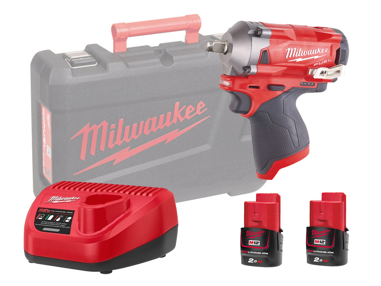 "MILWAUKEE 12V FUEL COMPACT IMPACT WRENCH 1/2"" - M12FIWF12 - 2.0AH PACK"