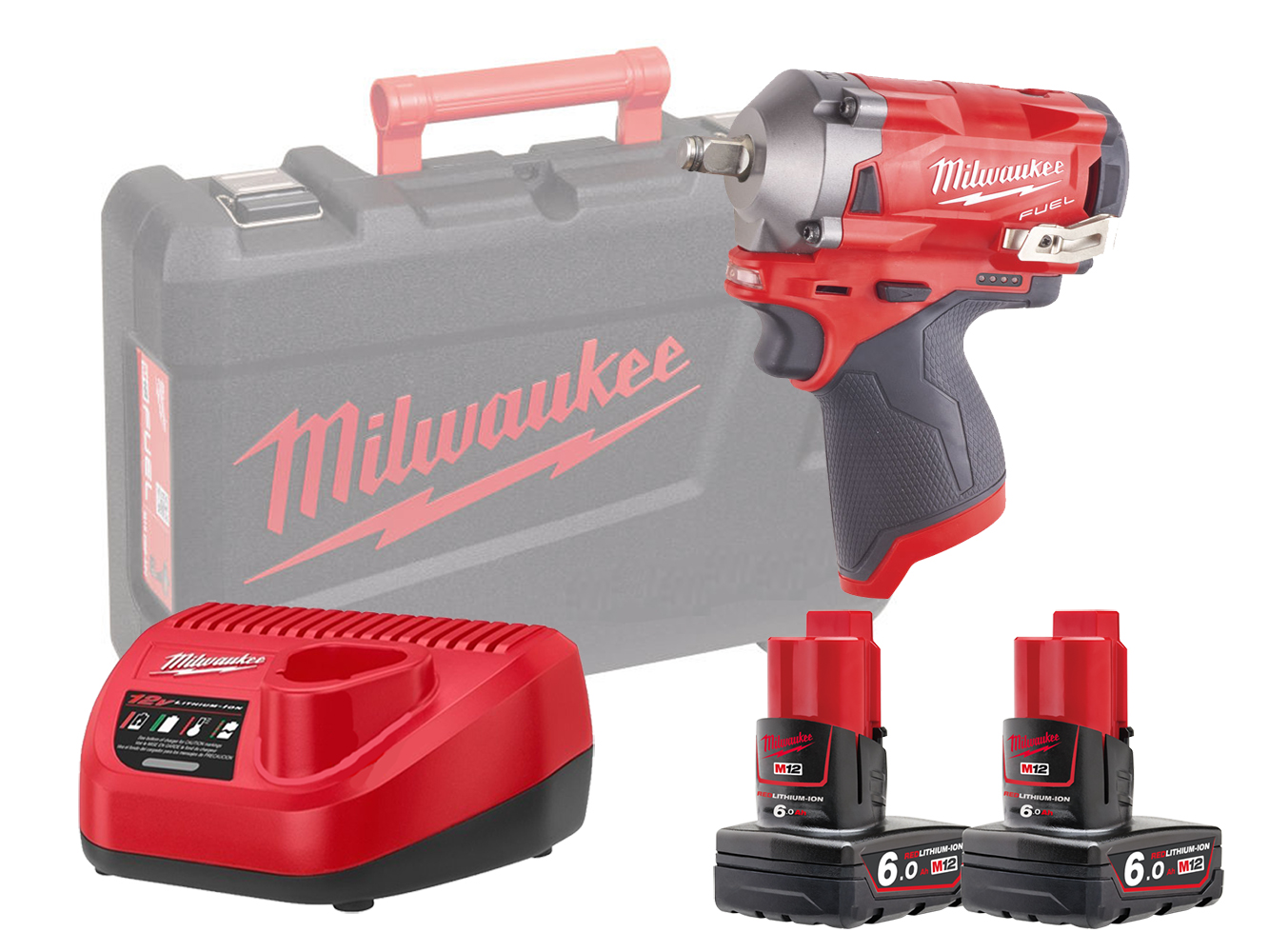 "MILWAUKEE 12V FUEL COMPACT IMPACT WRENCH 1/2"" - M12FIWF12 - 6.0AH PACK"