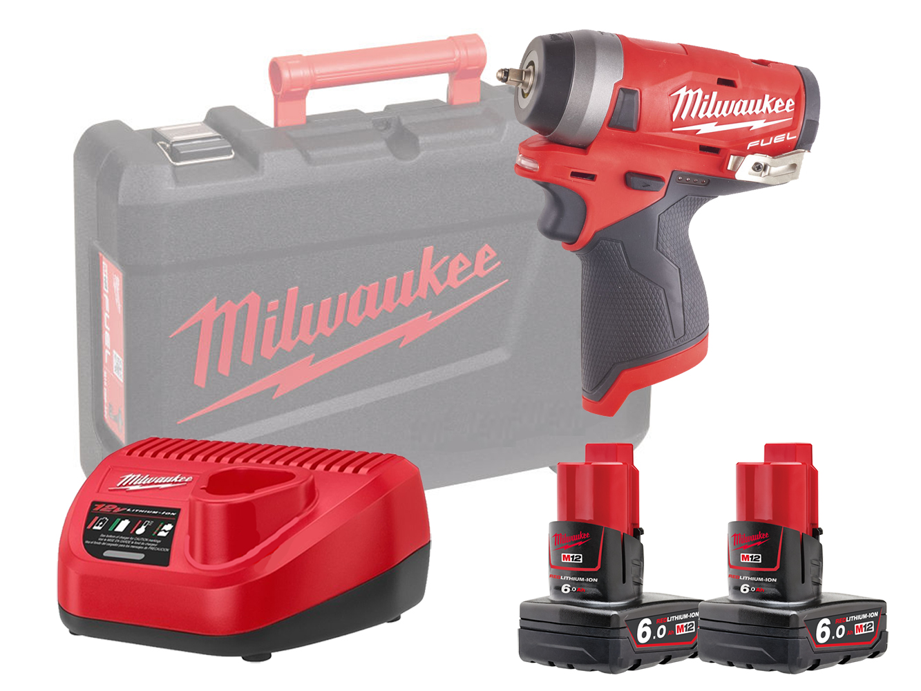 "MILWAUKEE 12V FUEL COMPACT IMPACT WRENCH 1/4"" - M12FIW14 - 6.0AH PACK"