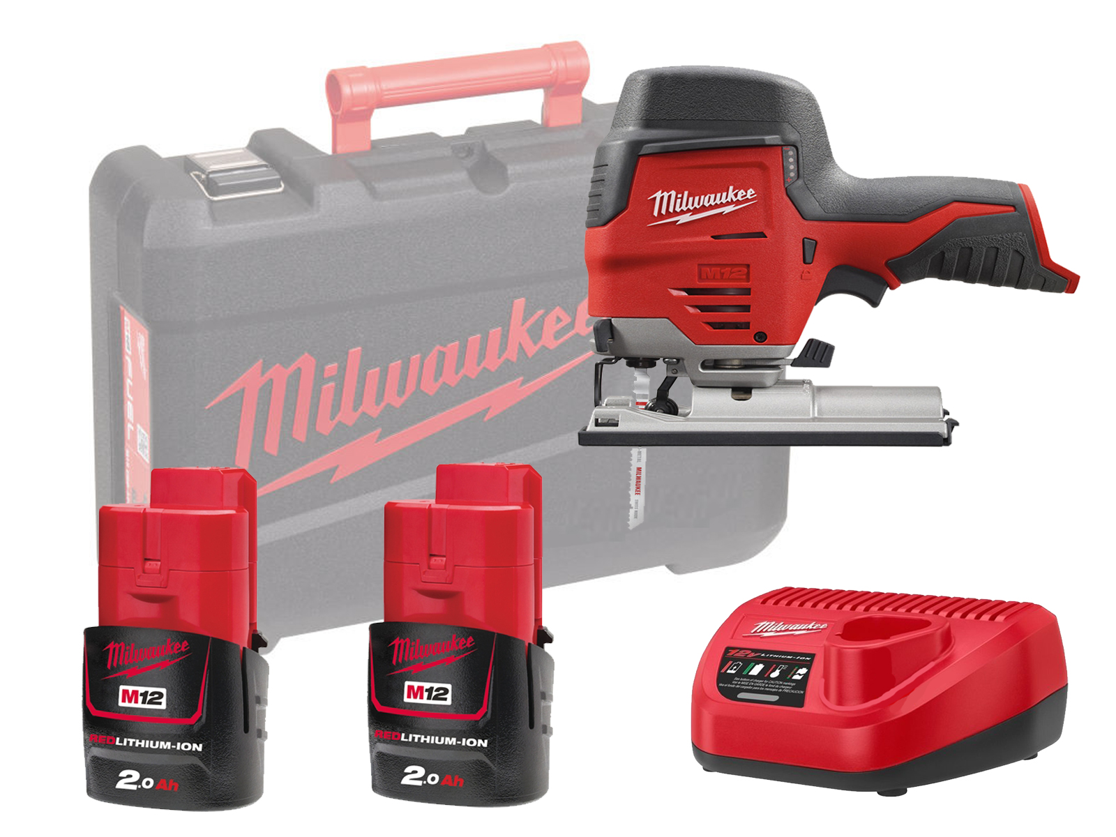 Milwaukee M12JS 12V Sub Compact Brushed Jigsaw with QUICK-LOK T-Shank Blade Clamp - 2.0ah Pack