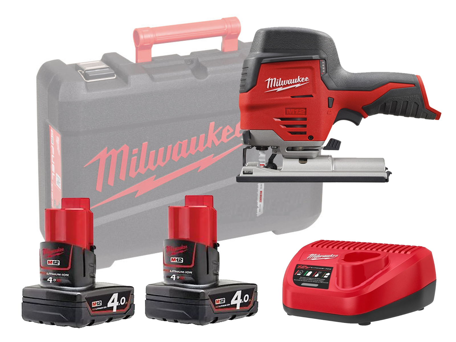 Milwaukee M12JS 12V Sub Compact Brushed Jigsaw with QUICK-LOK T-Shank Blade Clamp - 4.0ah Pack