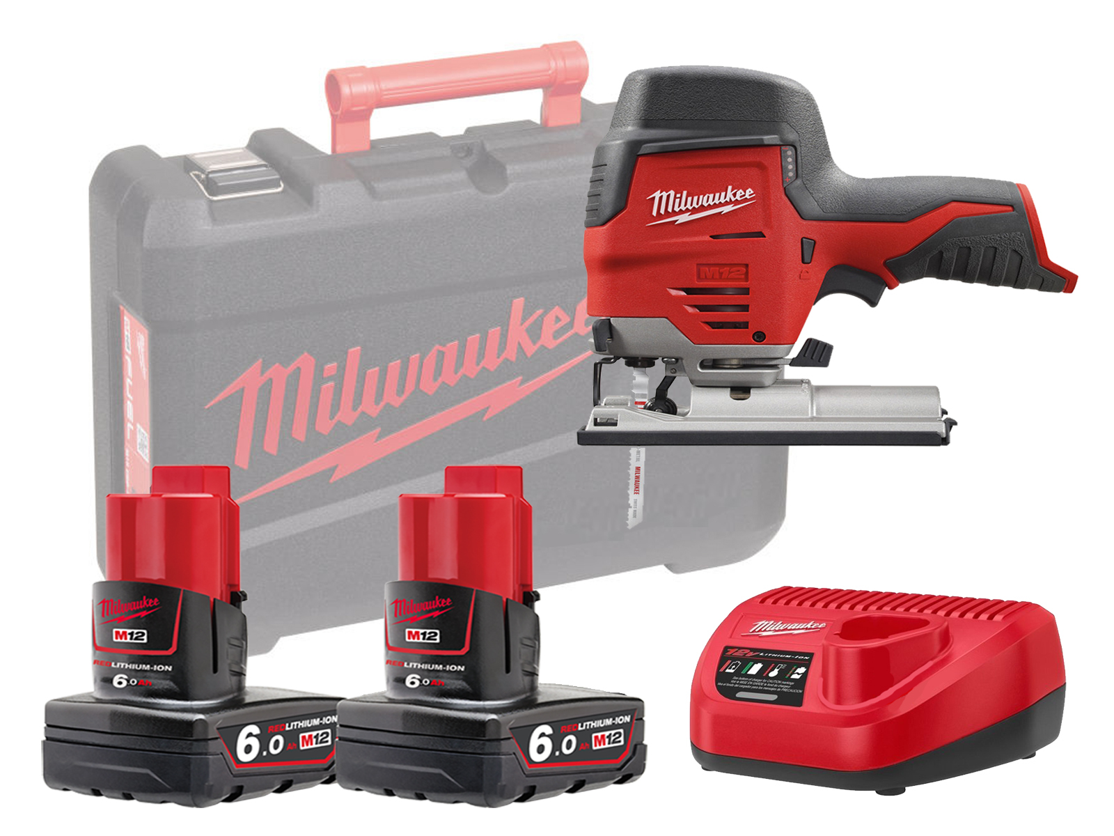Milwaukee M12JS 12V Sub Compact Brushed Jigsaw with QUICK-LOK T-Shank Blade Clamp - 6.0ah Pack