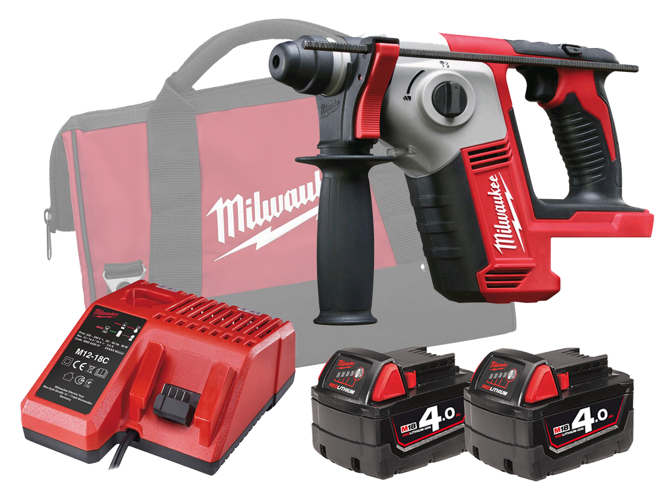 MILWAUKEE 18V COMPACT SDS+ 2 MODE ROTARY HAMMER - M18BH - 4.0AH PACK
