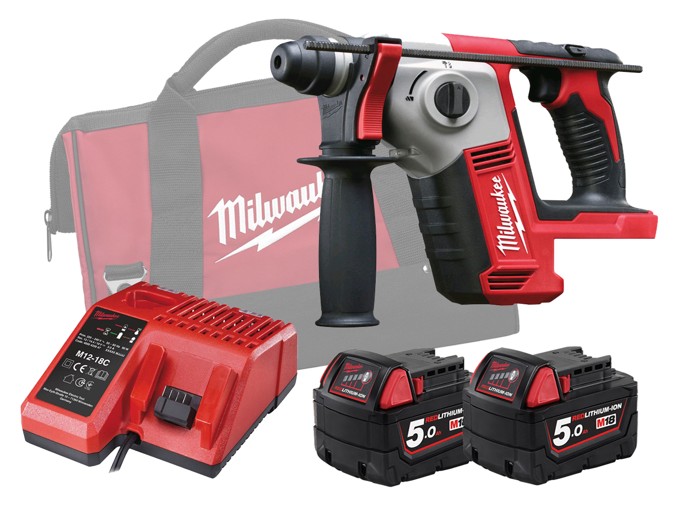 MILWAUKEE 18V COMPACT SDS+ 2 MODE ROTARY HAMMER - M18BH - 5.0AH PACK