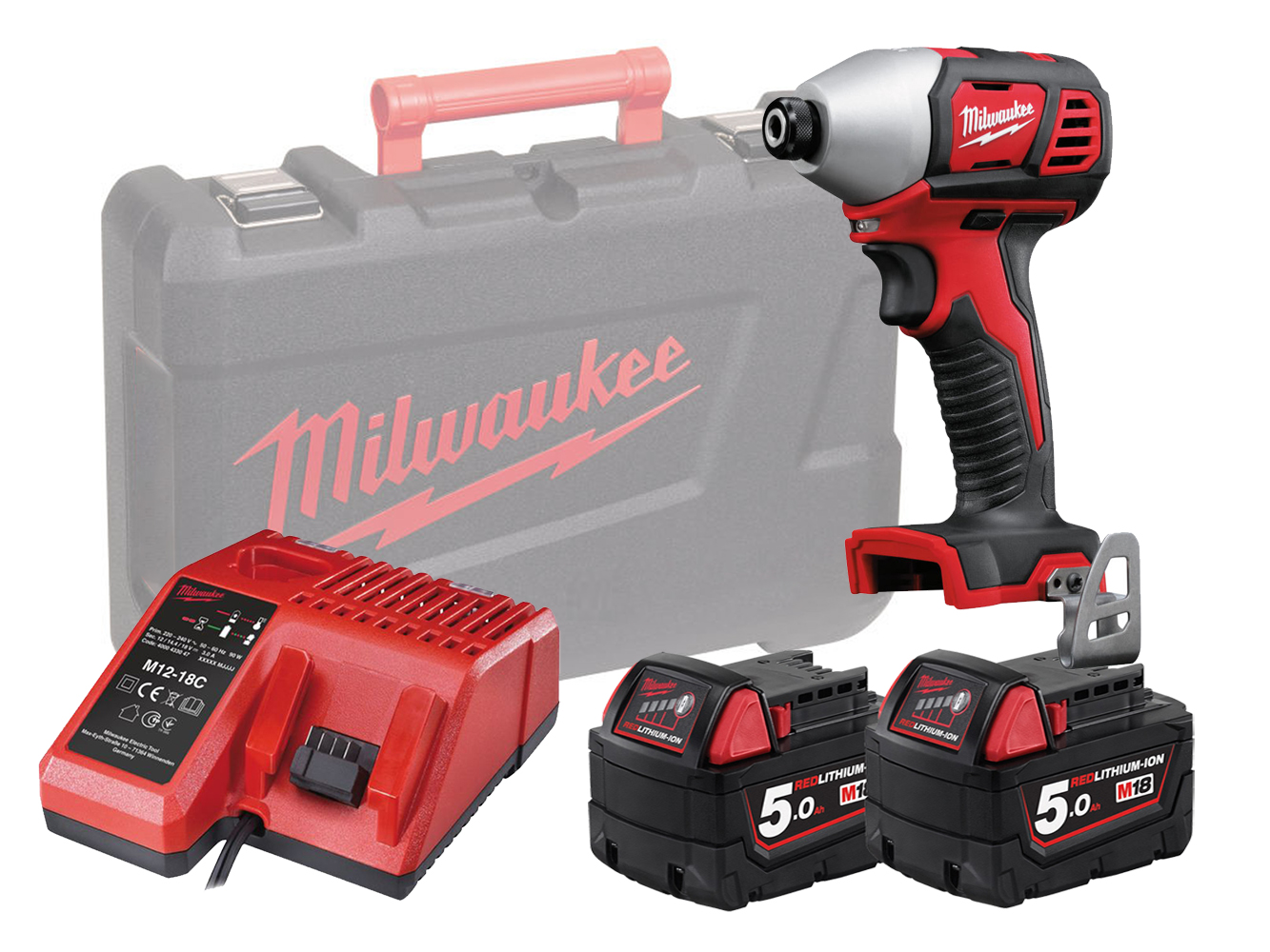 MILWAUKEE 18V BRUSHED IMPACT DRIVER - M18BID - 5.0AH PACK