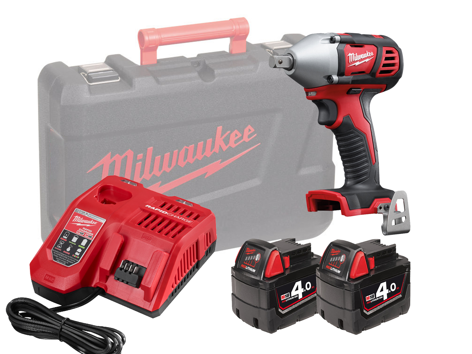 "MILWAUKEE 18V BRUSHED IMPACT WRENCH 1/2"" - M18BIW12 - 4.0AH PACK"