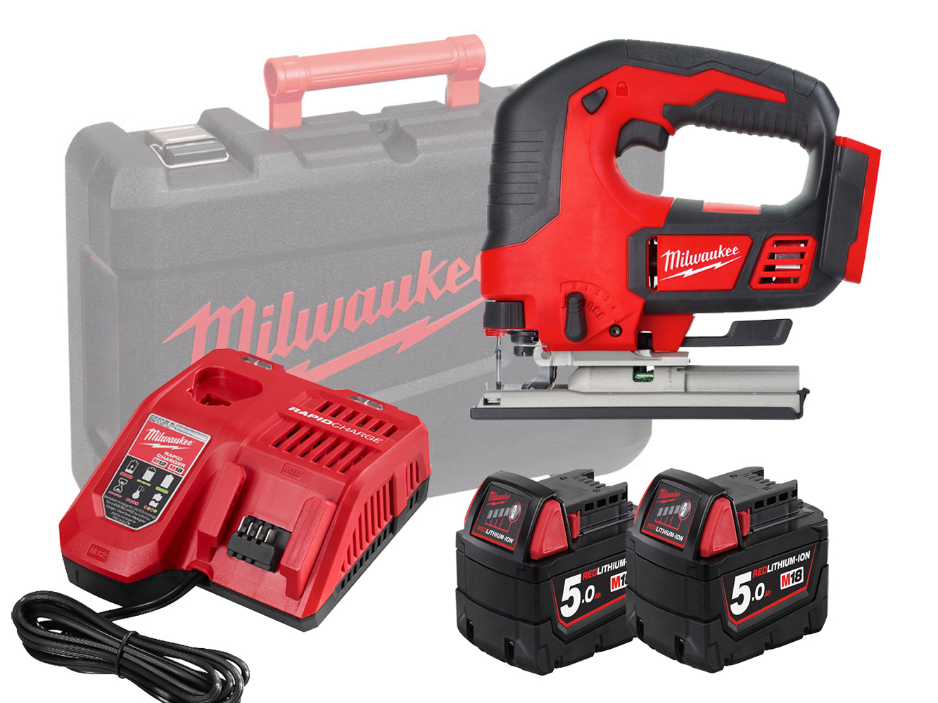 Milwaukee M18BJS 18V Top Handle Jigsaw with 5 Stage Pendulum Action - 5.0ah Pack