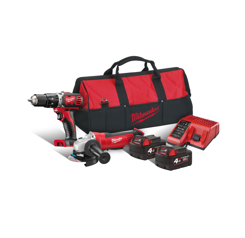 Milwaukee M18BPP2O-402B 18V Brushed HD18AG Angle Grinder & M18BPD Combi Drill Twin Pack - 4.0ah Pack
