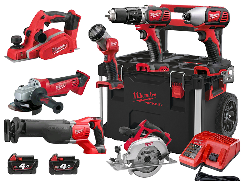 MILWAUKEE 18V BRUSHED 7PC POWER KIT - PACKOUT PROMOTION - 4.0AH PACK