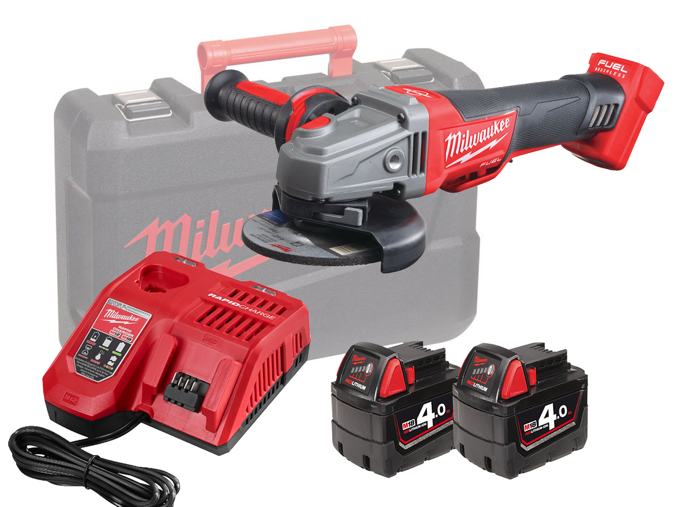 Milwaukee M18CAG115XPDB 18V Fuel 115mm Breaking Grinder With Paddle Switch - 4.0Ah Pack