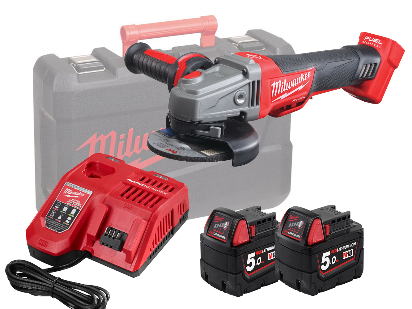 Milwaukee M18CAG115XPDB 18V Fuel 115mm Breaking Grinder With Paddle Switch - 5.0Ah Pack
