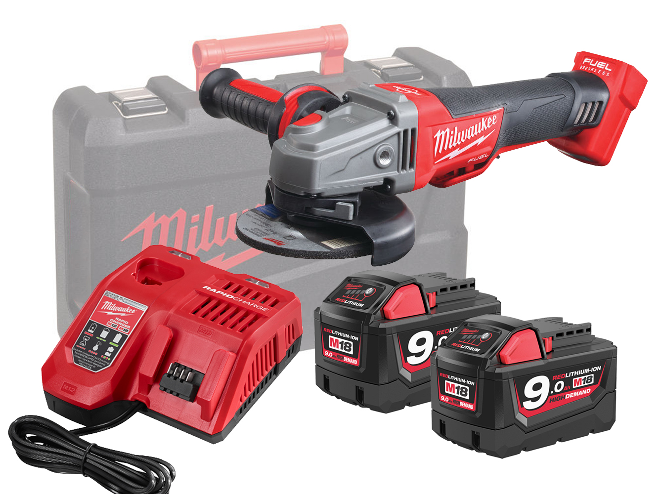 Milwaukee M18CAG115XPDB 18V Fuel 115mm Breaking Grinder With Paddle Switch - 9.0Ah Pack