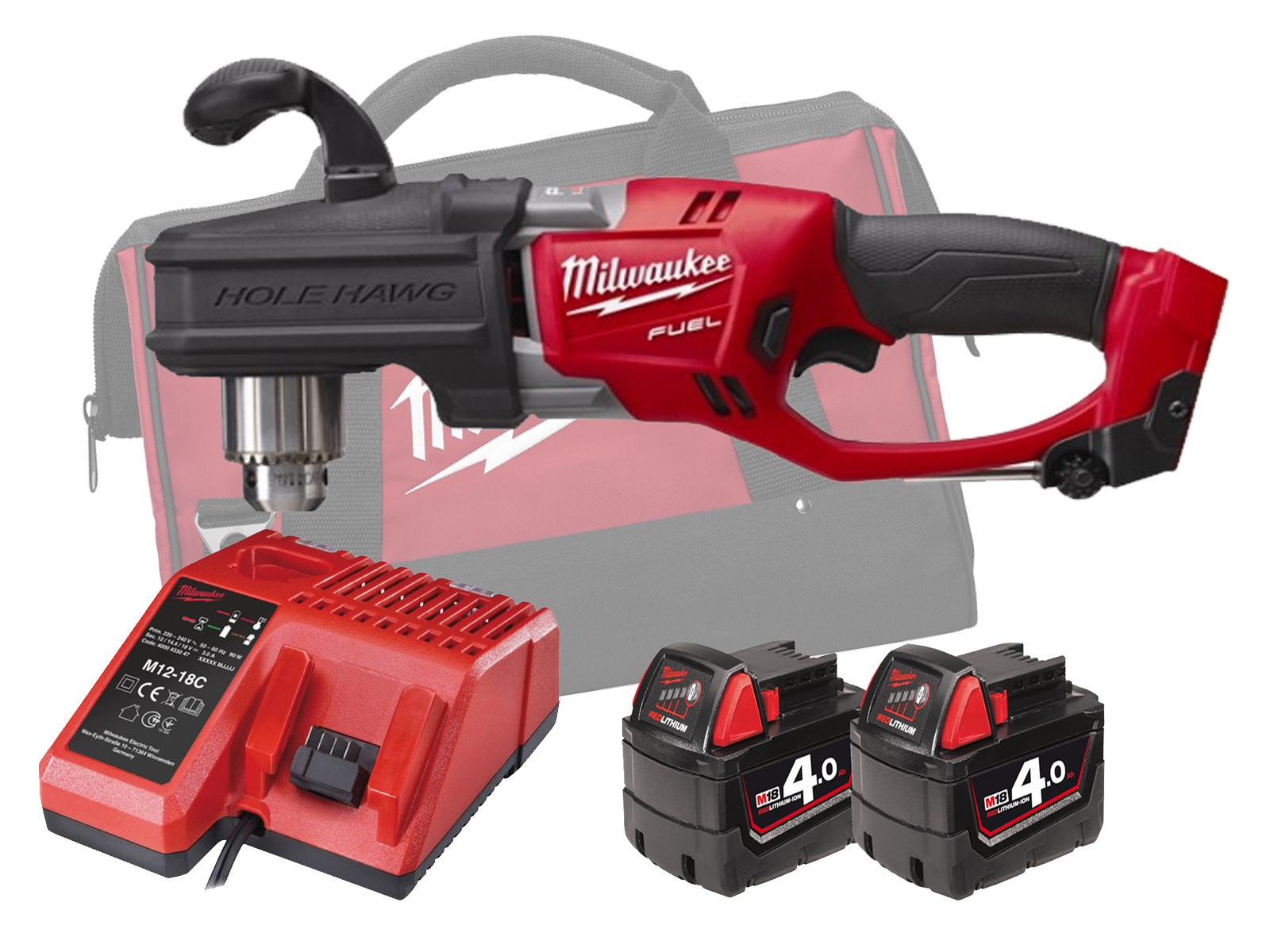 MILWAUKEE 18V FUEL BRUSHLESS RIGHT ANGLE DRILL - M18CRAD - 4.0AH PACK