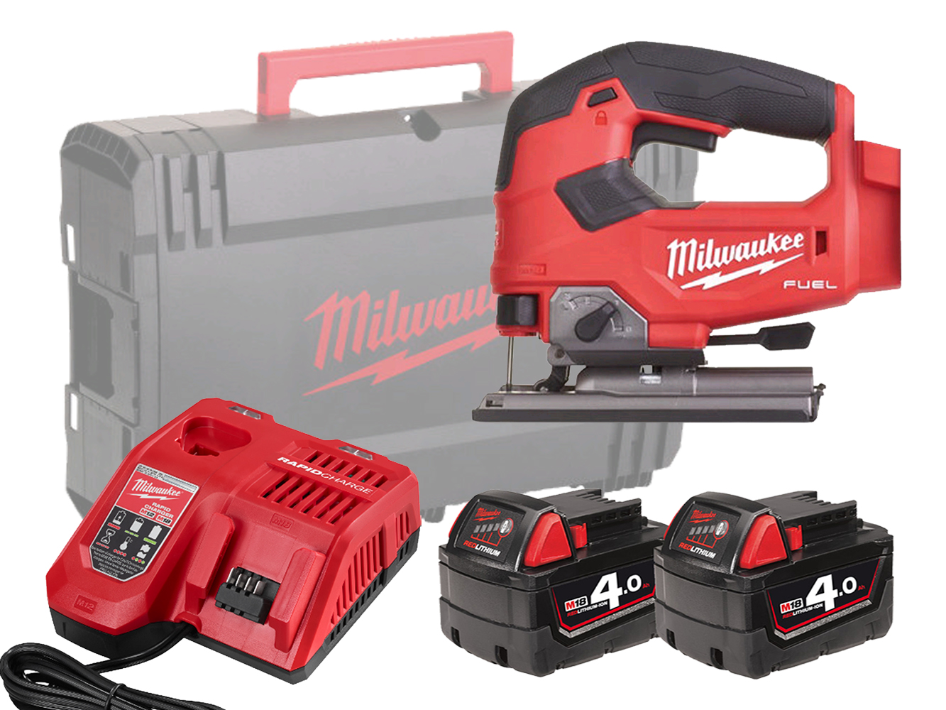 Milwaukee M18FJS 18V FUEL Jigsaw with Top-Handle and 5 Stage Pendulum Action - 4.0ah Pack