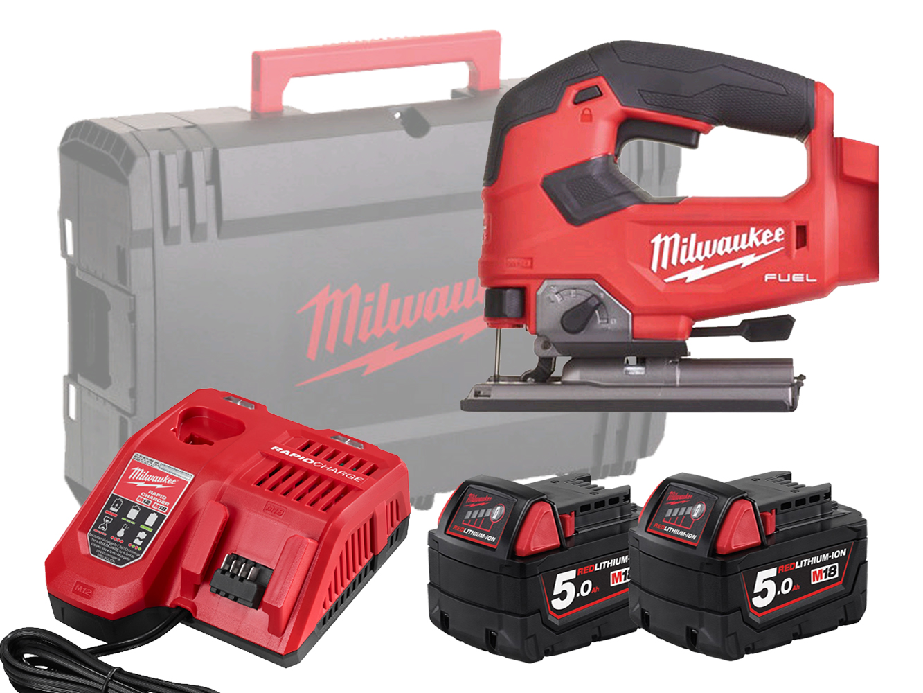 Milwaukee M18FJS 18V FUEL Jigsaw with Top-Handle and 5 Stage Pendulum Action - 5.0ah Pack