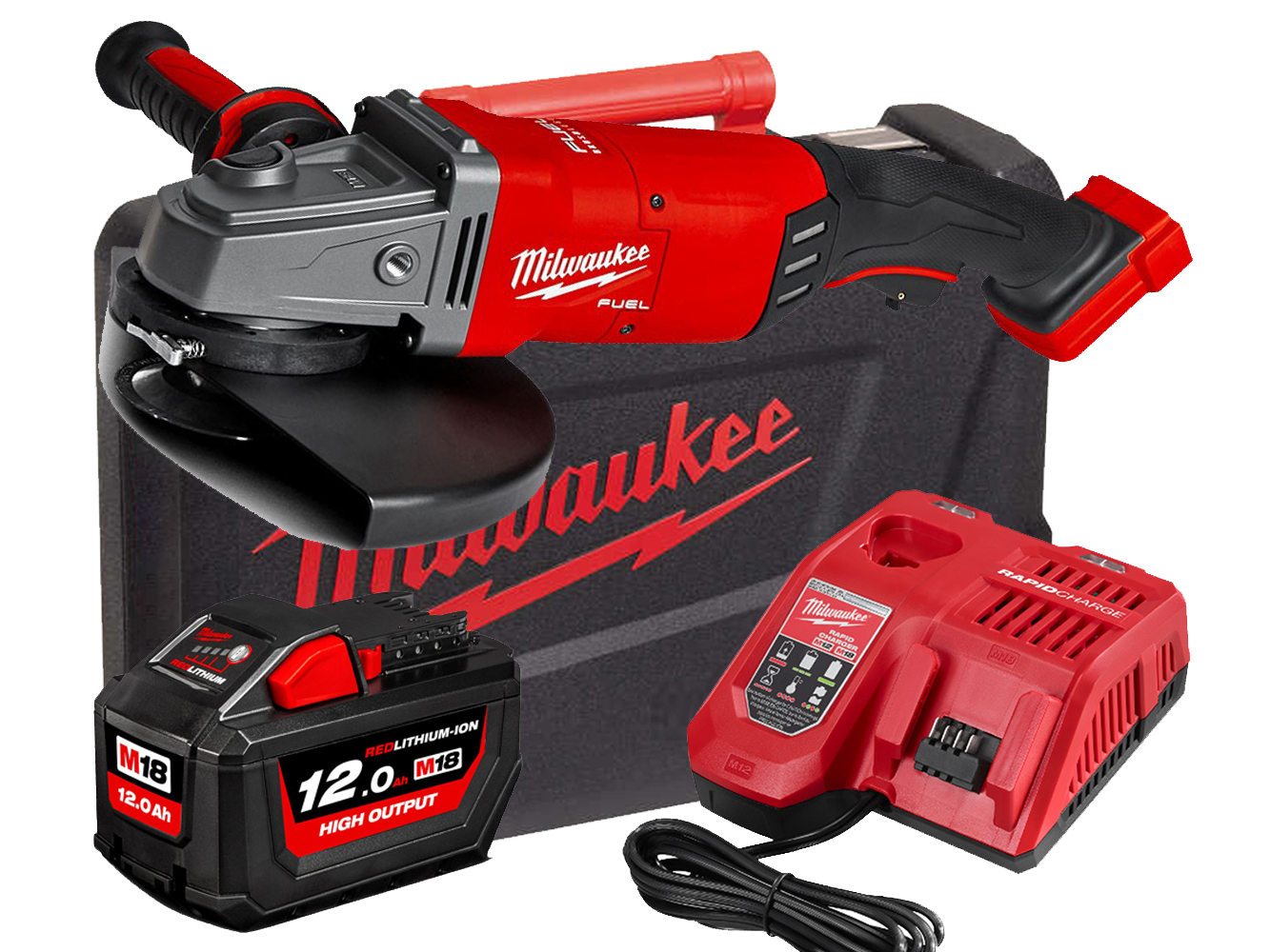 Milwaukee M18FLAG230XPDB 18V Fuel 230mm Large Breaking Grinder With Paddle Switch - 12.0Ah Pack
