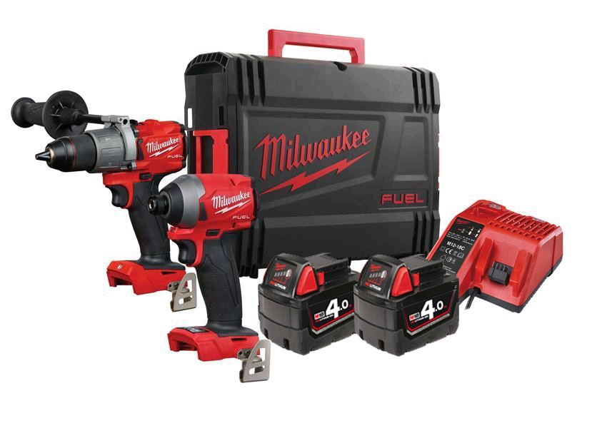 Milwaukee 18V FUEL Brushless Combo Kit - M18FPD2 Combi Drill & M18FID2 Impact Driver - 4.0ah Pack