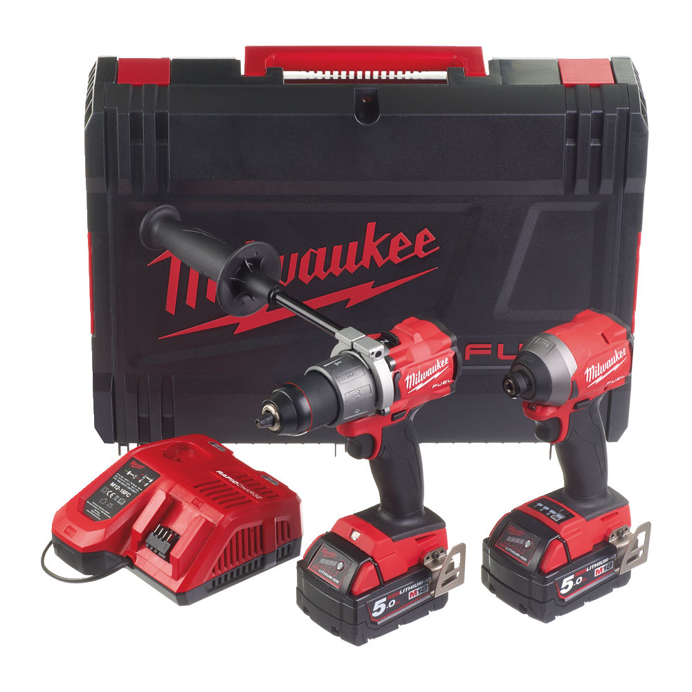 Milwaukee 18V FUEL Brushless Combo Kit - M18FPD2 Combi Drill & M18FID2 Impact Driver - 5.0ah Pack