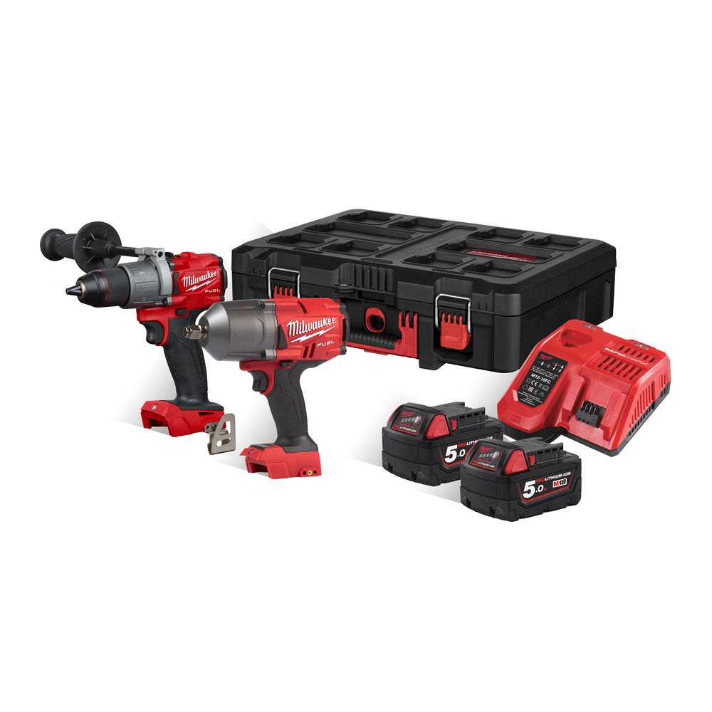 Milwaukee 18V FUEL Brushless Combi & Impact Wrench Pack (M18FPD2 & M18FHIWF12) - 5.0ah Packout Kit