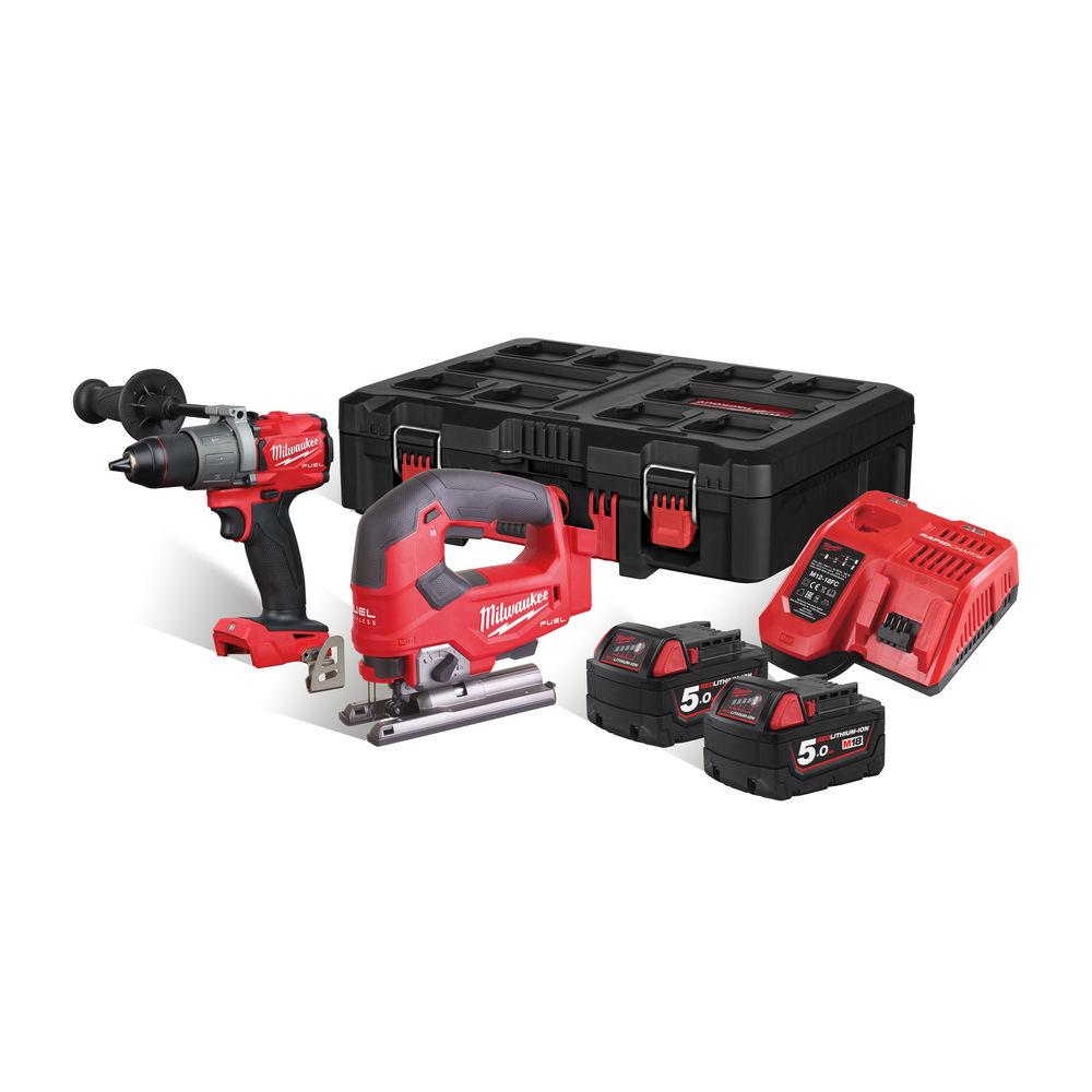 Milwaukee M18FPP2K2-502P 18V Fuel Brushless Power Pack (M18FPD2 Combi Drill & M18FJS Jigsaw) - 5.0Ah Kit
