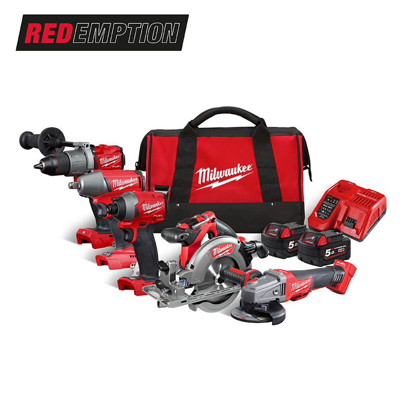 Milwaukee M18FPP5M-502B 18V FUEL 5 Piece Combo Kit (Circular Saw/Combi Drill/Impact Driver/Impact Wrench/Grinder) - 5.0ah Pack