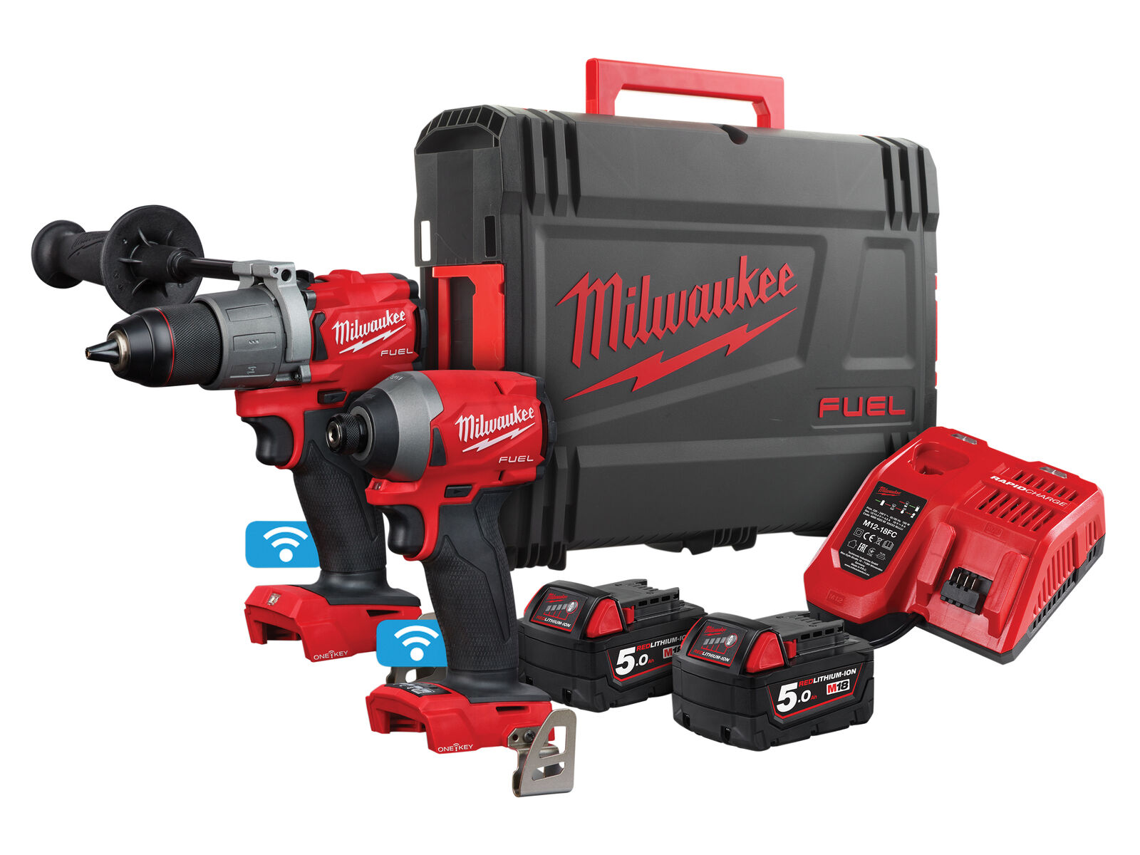 Milwaukee ONE-KEY 18V FUEL Combi Drill & Impact Driver Twin Pack - 5.0ah Pack