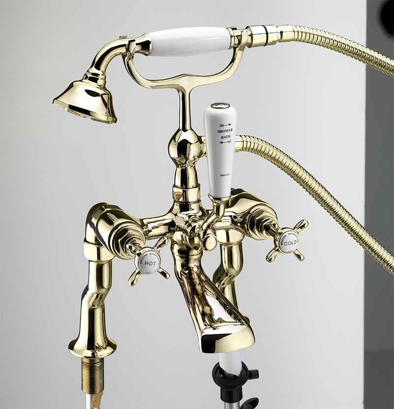 BRISTAN 1901 LUXURY PILLAR BATH SHOWER MIXER GOLD