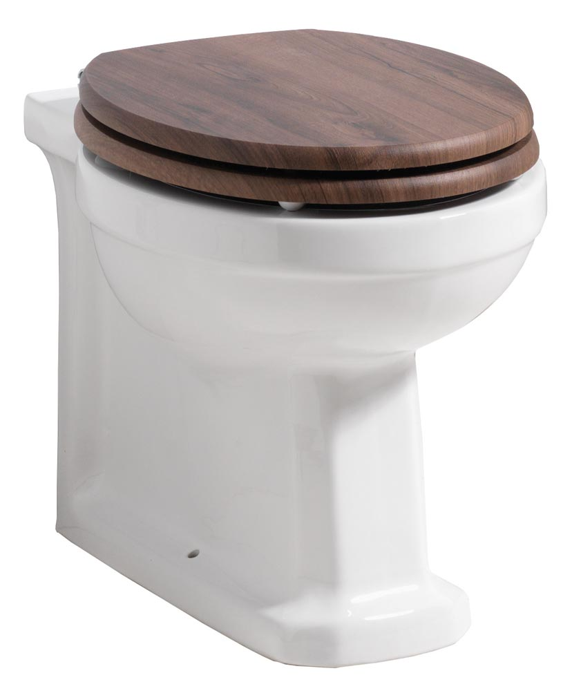 QX NOSTALGIC BACK-TO-WALL PAN & DARK WALNUT SOFT CLOSE SEAT