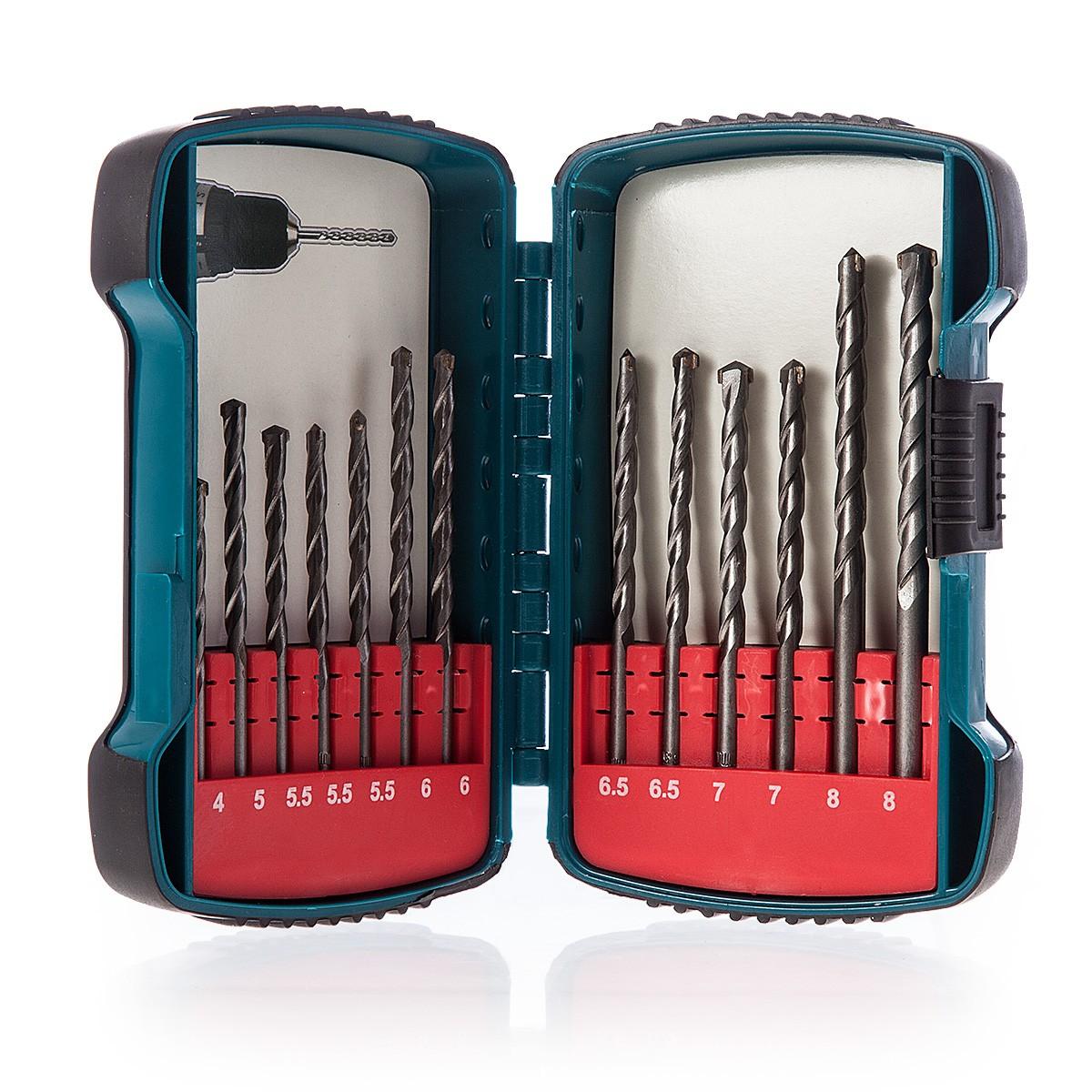 Makita 13 Piece 4mm to 8mm Masonry Drill Bit Set in Case - P-51889